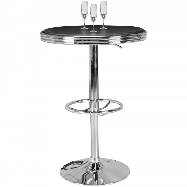 American Diner Bartisch rund Ø 60 cm Aluminium Kunstlederbezug - Retro Stehtisch USA in Schwarz/Silber - Robuster Bistrotisch im Stil der 50er Jahre - Partytisch mit