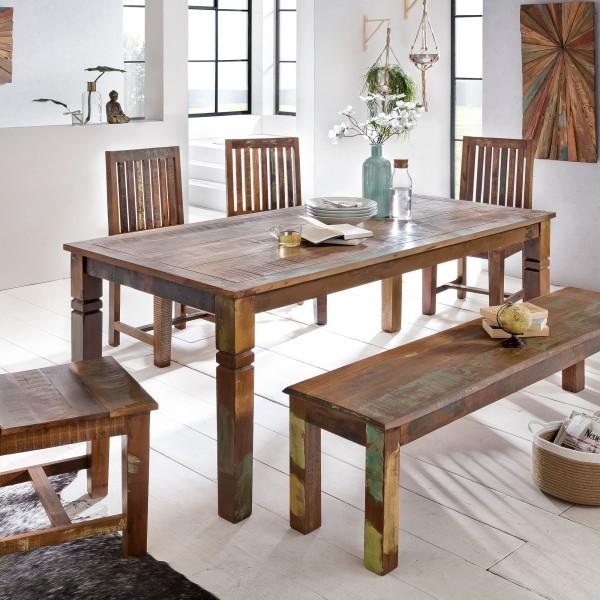 Esszimmertisch 120 x 70 x 76 cm Mango Shabby Chic Massiv-Holz - Design Landhaus Esstisch Bootsholz - Tisch für Esszimmer rechteckig - Küchentisch 4 - 6