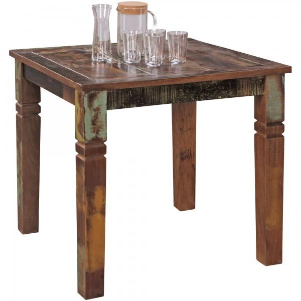 Esszimmertisch 80 x 80 x 76 cm Mango Shabby Chic Massiv-Holz - Design Landhaus Esstisch Bootsholz - Tisch für Esszimmer rechteckig - Küchentisch 4 Personen