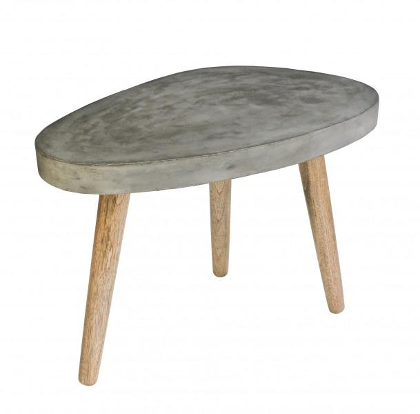 Couchtisch Beine Eiche, Platte Leichtbeton in grau . Plattenstärke 4,5 cm