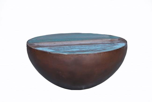 Couchtisch 70 x 70 cm Altholz + Metall in Platte bunt, Gestell antikschwarz trommelförmig. Bodendurchmesser 20 cm