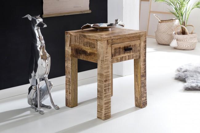[ Aiden ] - Nachttisch 40 x 40 x 55 cm 1 Schublade Mango Massivholz  Nachtkommode Holz Natur  Design Nachtkästchen  Nachtschrank