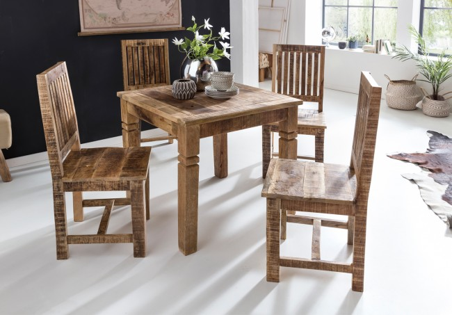 Esstisch 80 x 80 x 76 cm Mango Massivholz Quadratisch - Küchentisch Rustikal - Design Holz Esszimmertisch - Tisch Esszimmer für 4 Personen Echtholz