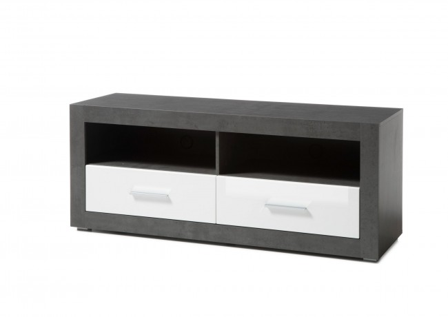 [ Justus.five ] - TV Lowboard Beton dunkel Weiß Hochglanz