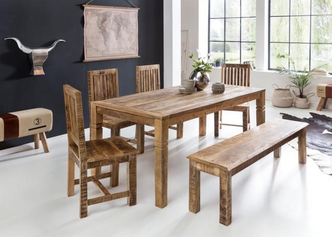 Esszimmertisch 180 x 90 x 76 cm Mango Massiv-Holz - Design Landhaus Esstisch Massiv - Tisch für Esszimmer rechteckig - Küchentisch 6 - 8 Personen