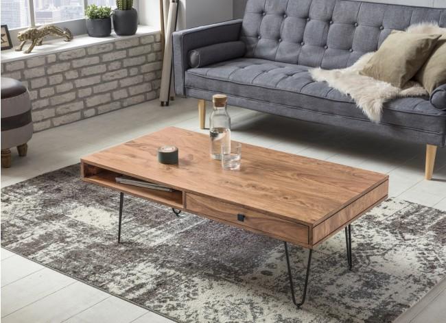 Couchtisch Massiv-Holz Akazie 120 cm breit Wohnzimmer-Tisch Design Metallbeine Landhaus-Stil Beistelltisch