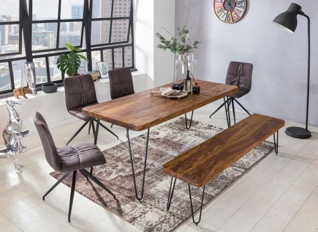 Esstisch Massivholz Sheesham 200 cm Esszimmer-Tisch Holztisch Metallbeine Küchentisch Landhaus dunkel-braun