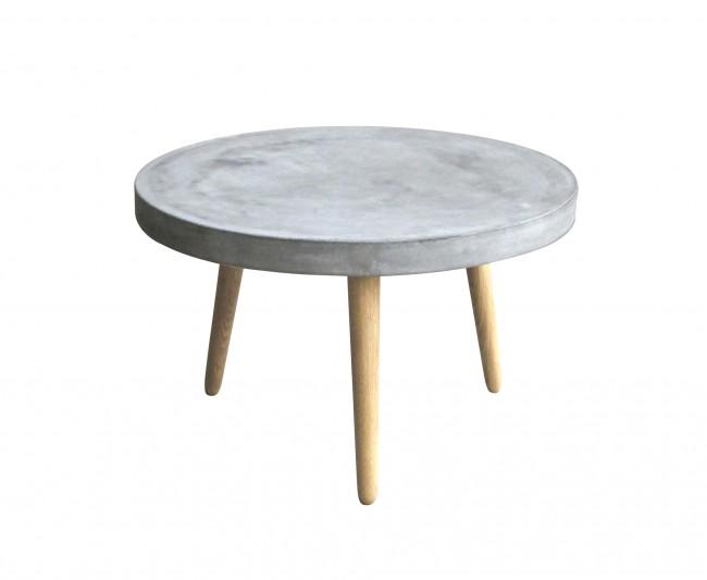 Couchtisch 82 x 82 cm Beine Eiche, Platte Leichtbeton in grau . Plattenstärke 5 cm