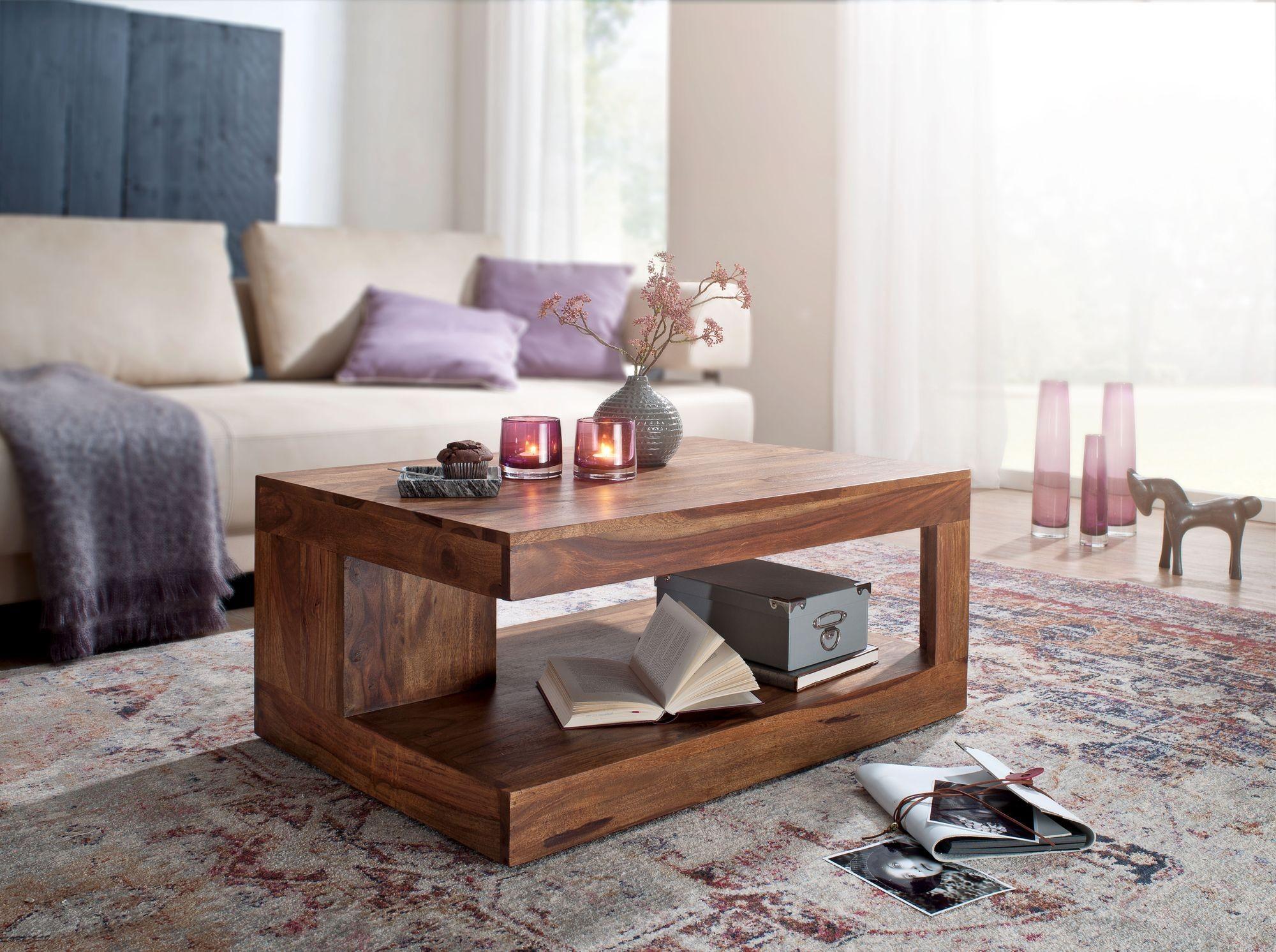 Couchtisch Sheesham Massiv-Holz 90 x 60 x 40 cm - Wohnzimmer-Tisch ...