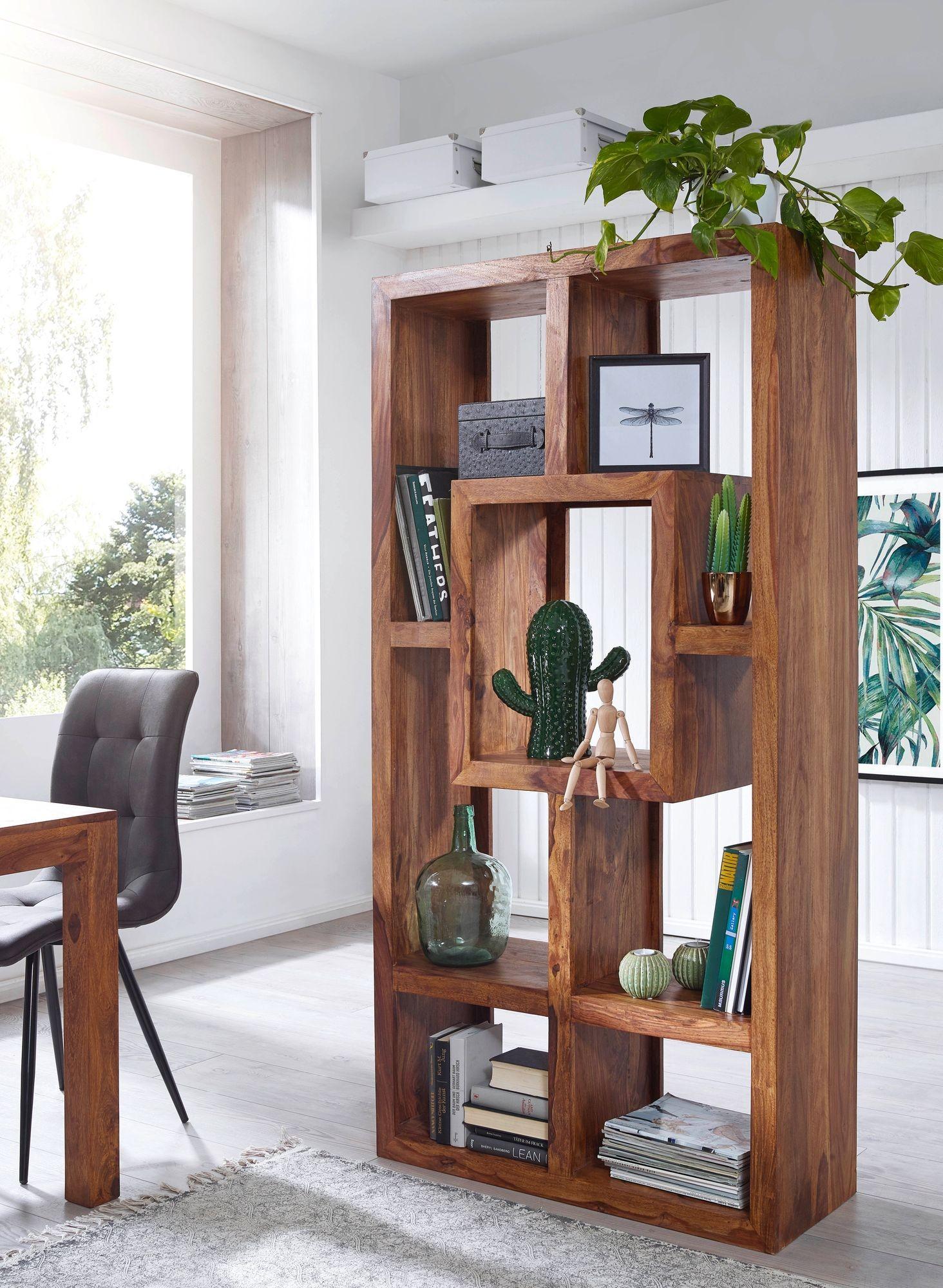 Bücherregal Massiv-Holz Sheesham 90 x 180 cm Wohnzimmer ...