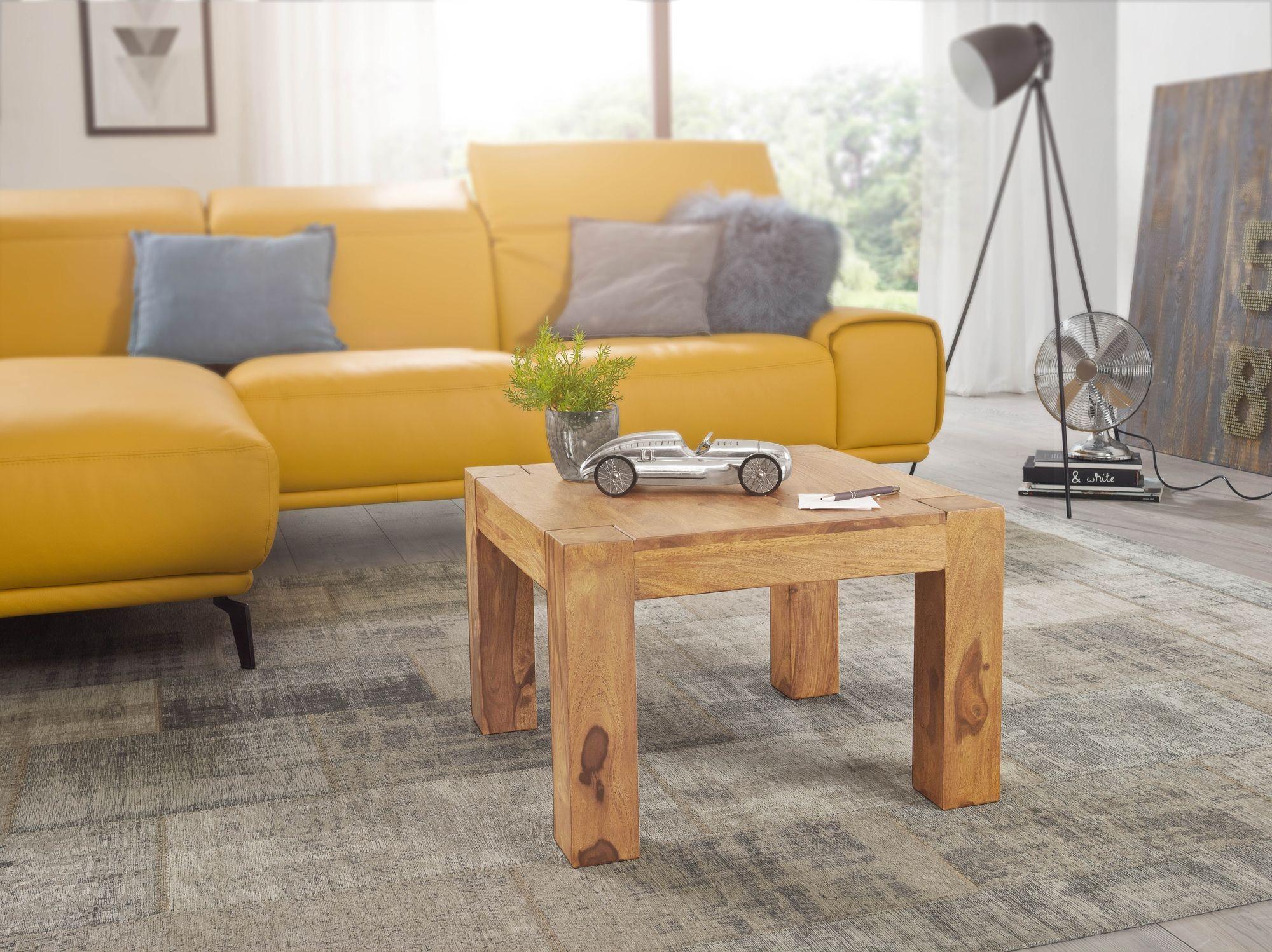 Couchtisch Massiv-Holz Akazie 60 cm breit Wohnzimmer-Tisch ...