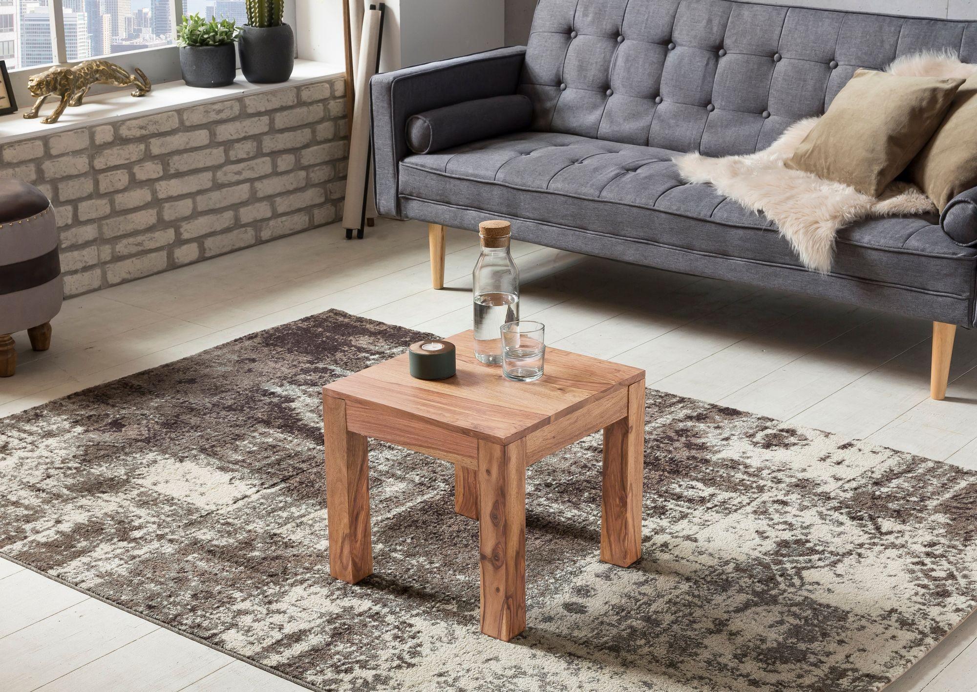Couchtisch Massiv-Holz Akazie 45 cm breit Wohnzimmer-Tisch ...