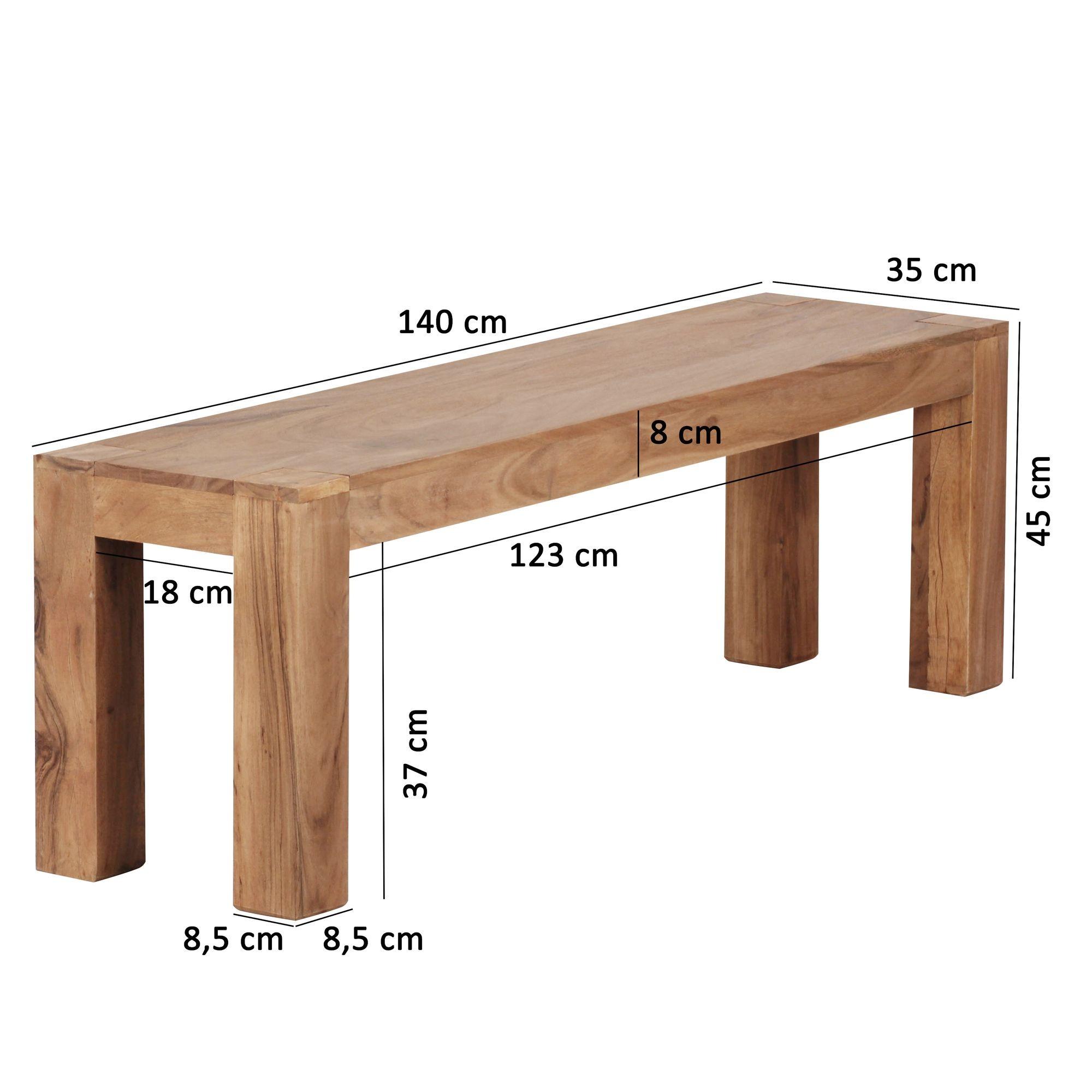 esszimmer sitzbank massiv holz akazie 140 x 45 x 35 cm. Black Bedroom Furniture Sets. Home Design Ideas