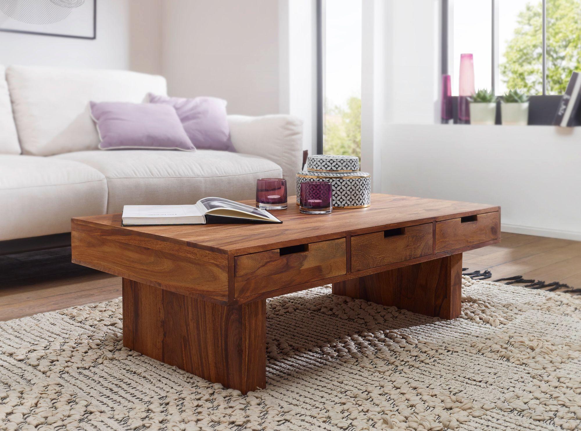 Couchtisch massivholz sheesham design wohnzimmer tisch 110 for Design couchtisch s 360