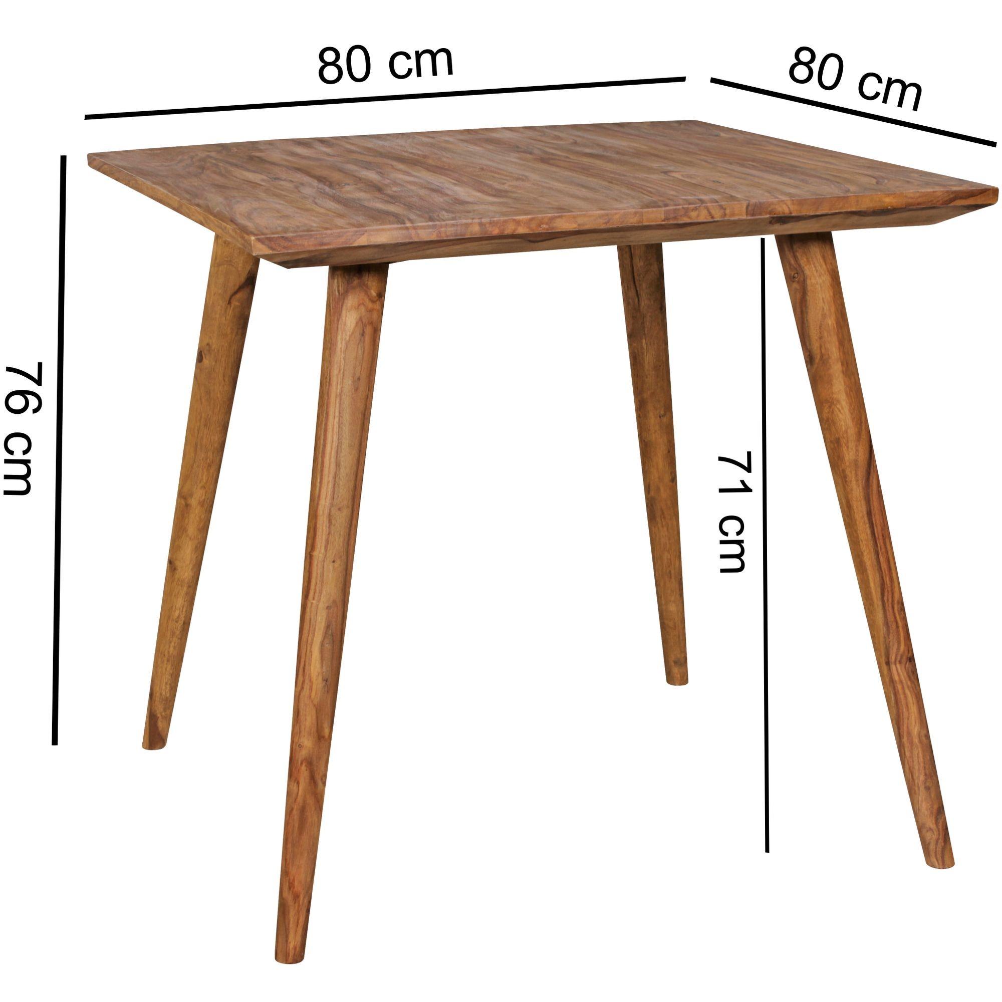 esszimmertisch 80 x 80 x 76 cm sheesham rustikal massiv holz design landhaus esstisch tisch fur esszimmer quadratisch 4 personen