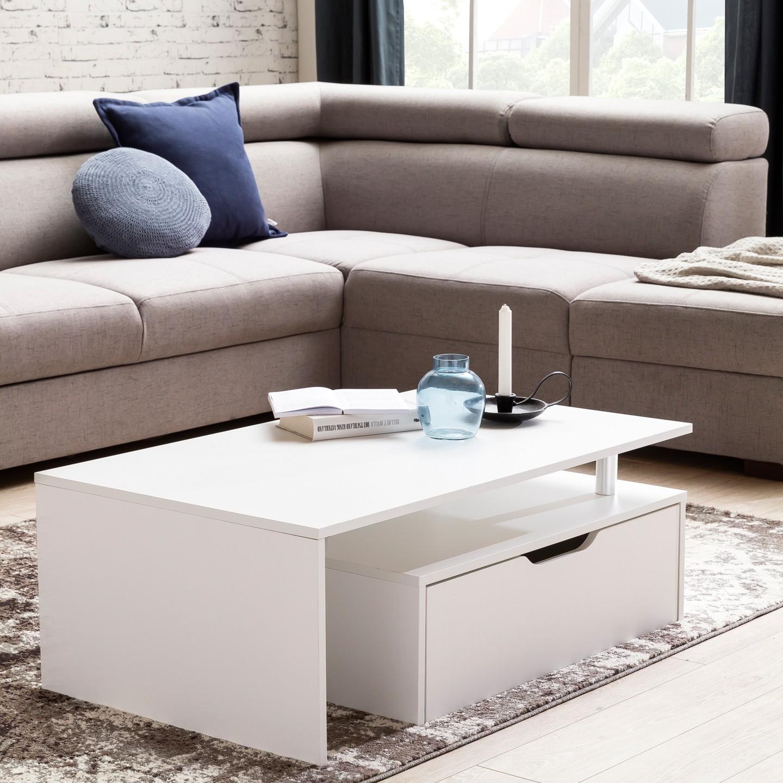 Couchtisch mit Schublade MDF Holz weiß 100 x 36 x 60 cm modern   Design Wohnzimmertisch flach ...