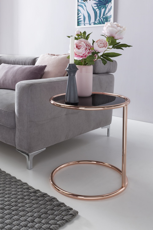 Design Beistelltisch Metall Glas ø 45 cm Schwarz / Kupfer ...