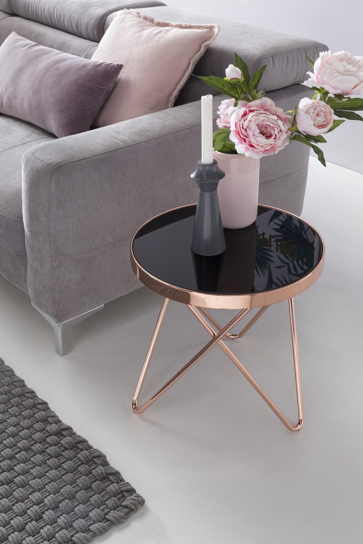Design beistelltisch dreibein metall glas 42 cm schwarz for Designer glastisch rund