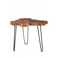 Couchtisch Platte Teak, Gestell Metall antikschwarz in natur, Gestell antikschwarz 3 Beine
