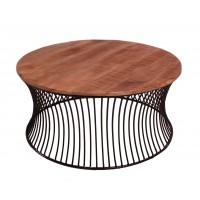 Couchtisch Metall mit Mangoholz in Gestell schwarz lackiert, Platte natur