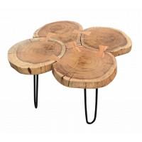 Couchtisch Platte Akazie lackiert, Beine aus Schmiedeeisen in Platte natur, Beine antikschwarz 4 Baumscheiben. Plattenstärke 3,5 cm