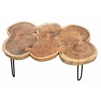 Couchtisch Platte Akazie lackiert, Beine aus Schmiedeeisen in Platte natur, Beine antikschwarz 6 Baumscheiben. Plattenstärke 3,5 cm