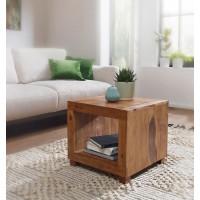 Couchtisch Massiv-Holz Sheesham 50 cm breit Wohnzimmer-Tisch Design dunkel-braun Landhaus-Stil Beistelltisch