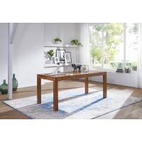 Esstisch Massivholz Sheesham 120 cm Esszimmer-Tisch Holztisch Design Küchentisch Landhaus-Stil dunkel-braun