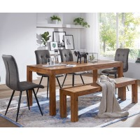 Esszimmer Sitzbank Massiv-Holz Sheesham 120 x 45 x 35 cm Holz-Bank Natur-Produkt Küchenbank im Landhaus-Stil