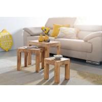 3er Set Satztisch Massiv-Holz Akazie Wohnzimmer-Tisch Landhaus-Stil Beistelltisch dunkel-braun Naturholz