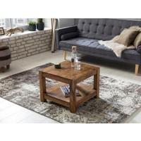 Couchtisch Massiv-Holz Sheesham 60 x 60 cm Wohnzimmer-Tisch Design dunkel-braun Landhaus-Stil Beistelltisch