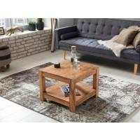 Couchtisch Massiv-Holz Akazie 60 x 60 cm Wohnzimmer-Tisch Design dunkel-braun Landhaus-Stil Beistelltisch