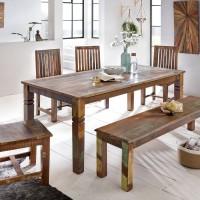 Esszimmertisch 180 x 90 x 76 cm Mango Shabby Chic Massiv-Holz - Design Landhaus Esstisch Bootsholz - Tisch für Esszimmer rechteckig - 6 - 8 Personen