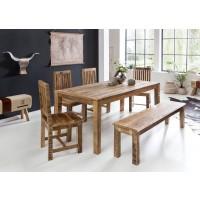 Esszimmertisch 120 x 70 x 76 cm Mango Massiv-Holz - Design Landhaus Esstisch Massiv - Tisch für Esszimmer rechteckig - Küchentisch 4 - 6 Personen