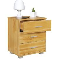 [ Mia.two ] - Nachtkonsole Holz Nachttisch modern mit 3 Schubladen buche  Design Nachtkästchen 45 x 54 x 34 cm  Kleines Nachtschränkchen