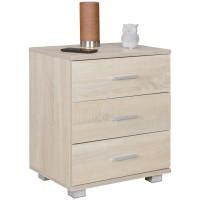 [ Mia.one ] - Nachtkonsole Holz Nachttisch modern mit 3 Schubladen sonoma  Design Nachtkästchen 45 x 54 x 34 cm  Kleines Nachtschränkchen
