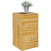 [ Carlo.two ] - Nachtkonsole Holz Nachttisch modern mit 3 Schubladen buche  Design Nachtkästchen 37,5 x 68 x 35 cm  Extra hohes Nachtschränkchen